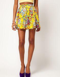 Motel Ditsy Floral Skater Skirt