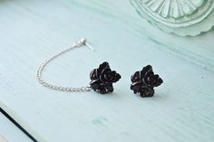 Black Bouquet Single Silver Chain Cartilage by oflovelythings, $10.55