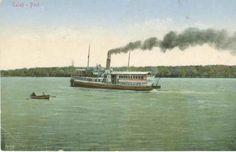 BU-F-01073-5-01612 Vaporaş pe Dunăre la Galaţi- Port, -1922 (niv.Document) Bucharest Romania, Retro, Hot, Retro Illustration