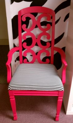 Drab To Fab: Thrift Store Chair Revamp Refurbished Furniture, Furniture Makeover, Diy Furniture, Redoing Furniture, Chair Makeover, Chair Redo, Love Chair, Zebra Print Walls, Coffee Room