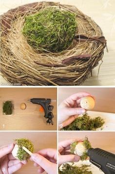Spring decoration - Egg covered with moss (Tavaszi dekoráció - mohával burkolt tojás)