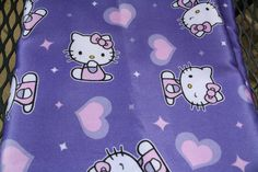 Hello Kitty Purple Satin Fabric yardage