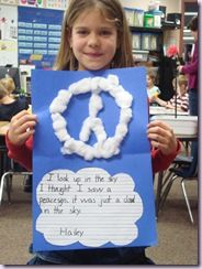 """After reading """"It looked like spilt milk"""" students create their own image of a cloud in the sky."""