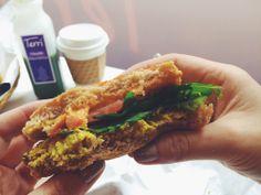 """veggie, tofu """"egg"""" & cheese breakfast sandwich from terri - new york"""