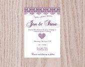 Printable DIY Wedding Invitation Digital File - Purple Lace - Invite