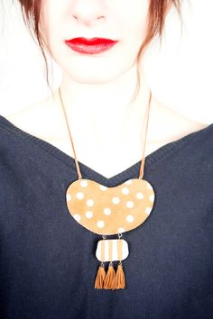 African Tribal Necklace Leather Statement Necklace by candyfoxx