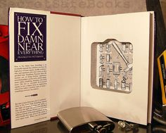 A hollowed out book offers the perfect place to hide your flask
