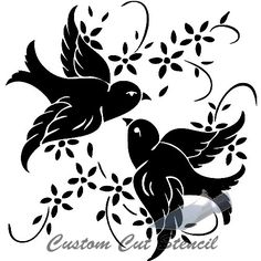Glass etching stencil of A Pair of Birds with Flowers. In category: Birds… Bird Stencil, Stencil Art, Stenciling, Flower Stencils, Damask Stencil, Stencil Patterns, Stencil Designs, Silhouette Cameo Projects, Silhouette Design