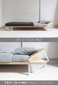 "This DIY Modern Bed is made from a sheet of ¾"" plywood, and 10 ikea shelf brackets. The materials cost less than $100 and only 3 power tools are needed to build it. Full instructions can be found at http://HomeMade-Modern.com"
