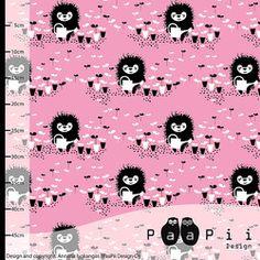 Paapii fabric Siiri the gardener pink organic jersey fabric