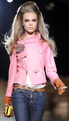Love the pink, jeans, and pouffy hair.  D Squared