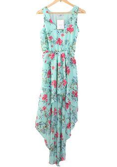 Green Flowers Swallowtail Irregular Round Neck Chiffon Dress
