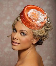 Tangerine Orange Peach Bridal Hat Bridal Hair by GildedShadows