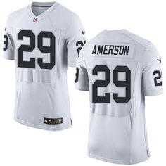 12bed8515d7 Men s NFL Oakland Raiders  29 David Amerson White Elite Jersey Allen White
