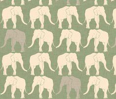 elephants_light_green fabric by holli_zollinger on Spoonflower - custom fabric