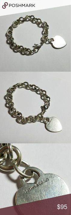 "Tiffany & Co Heart Charm Bracelet 7.75"" Engravable Authentic Tiffany Sterling silver heart charm bracelet. 7.75"" long Tiffany & Co. Jewelry Bracelets"