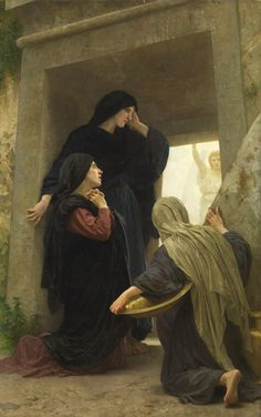 William-Adolphe Bouguereau - The Three Marys at the Tomb Art Print. Explore our collection of William-Adolphe Bouguereau fine art prints, giclees, posters and hand crafted canvas products William Adolphe Bouguereau, Catholic Art, Religious Art, Catholic Saints, Religious Paintings, Kunst Online, Biblical Art, Mary Magdalene, Sacred Art