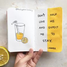 Bullet journal quote page, lemonade drawing. | @thetypewriterdaily