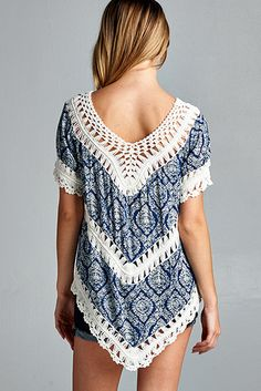 Printed Crochet Top - Navy - Knitted Belle Boutique  - 2