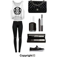 Black/white/vans by amberpend on Polyvore featuring polyvore, fashion, style, J Brand, Vans, Chanel, shu uemura, Laura Mercier and Essie