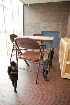 Installing Robert Therrien's folding table and chairs for 'Lifelike' exhibition, Walker Art Center