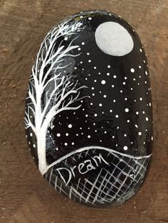 Dream Hand Painted Stone with Night Sky by RockyCreationsbyKris