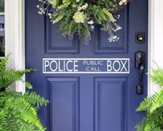 Doctor Who Police Public Call Box inspired Tardis Call Box Door Topper Vinyl Wall Decal