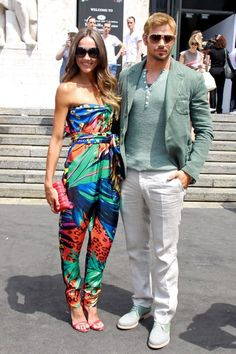 Loved-up Kellan Lutz and Sharni Vinson attend the Salvatore Ferragamo show during Men's Fashion Week in Milan