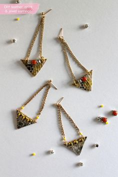 DIY Leather, Print And Jewel Earrings