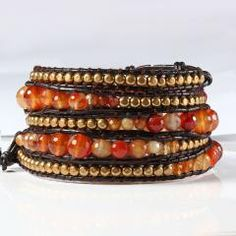 [ 30% OFF ] New Fashion Women Faceted Red Agate 5 Wraps Leather Bracelet Handmade Semi-Precious Stone Beaded Bracelets Ewelry Gift Wholesale