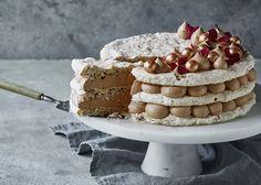 Nougat lagkage med nøddebunde 20 Min, Tiramisu, Caramel, Forslag, Ethnic Recipes, Sweet, Pixi, Birthday Cakes, Friends