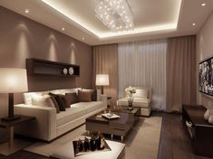Luxury living room interior design by House Ceiling Design, Ceiling Design Living Room, Home Living Room, Interior Design Living Room, Living Room Designs, Living Room Decor, 3d Interior Design, Living Room Lighting, Living Room Sets