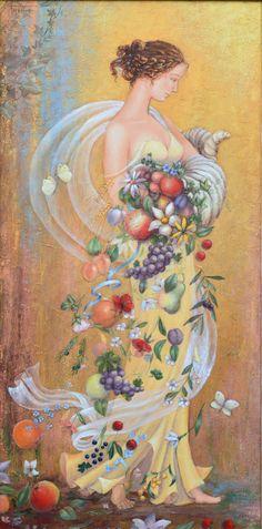 Persefone * artist Barbara Gerodimou * www.gerodimou.com #gerodimougoldseries #flora #spring #persefoni #flowers #fruits #oiloncanvas #painting #oilpaintingoncanvas #gerodimou Light Painting, Artist Painting, Oil Painting On Canvas, Flora, Spring, Artwork, Instagram, Decor, Work Of Art