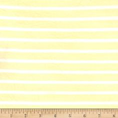 This lightweight rayon jersey knit fabric features a smooth hand and and a 75% stretch across this grain. It is perfect for making t-shirts, loungewear, yoga pants and more! Colors include light yellow and white stripes. Stripes run perpendicular to the selvage.