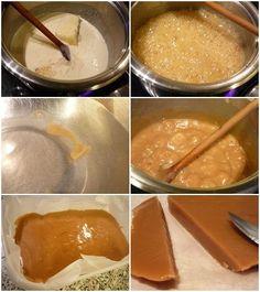 Vajkaramella recept - Hozzávalók 1 adaghoz (kb. 40 db kocka): 250 ml tejszín, 250 g cukor (én nádcukrot használtam), 6 dkg vaj, 1 csomag vaníliás cukor (ez ki is hagyható), 6 dkg méz (1 nagy ek kb. jól belemártva a mézes csuporba), 3 csipet só