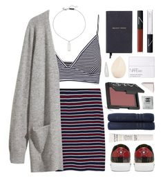 """""""Stripes on Stripes"""" by amazing-abby ❤ liked on Polyvore featuring Pull&Bear, MANGO, H&M, Smythson, NARS Cosmetics, Christian Dior, Forever 21, Bobbi Brown Cosmetics, Alexander McQueen and Linum Home Textiles"""