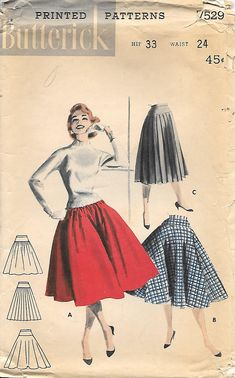 Butterick 7529 UNCUT 1950s Hip Yoked Circle Skirt Vintage