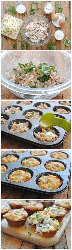 Muffin de Frango-1 peito de frango ,1 1/2 xícaras de queijo ralado 1/4 copo de molho pimenta 1/4 xícara de cheiro verde, 1/2 xícara de leite 2 ovos, 1 xicara de farinha e 1 c.s. de fermento em pó. Preaqueça o forno a 200 ° Em uma tigela grande, misture todos os ingredientes. Unte uma forma com óleo spray Despeje uma colher de sopa da mistura de frango na forma. Asse por 30 minutos, ou até que um palito é limpo quando inserido. Sirva decorado com mais coentro ou salsa seu favorito!