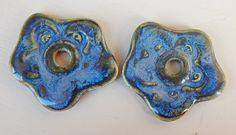 """Porcelain Earrings """" flower blue """" Design by Mª Carmen Rodriguez https://www.facebook.com/groups/CeramicArtBeadMarket"""