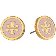 Tory Burch Lacquered Logo Studs Earrings (Pink Blossom/Tory Gold)... ($75) ❤ liked on Polyvore featuring jewelry, earrings, yellow gold earrings, post earrings, gold jewellery, gold stud earrings and yellow gold stud earrings