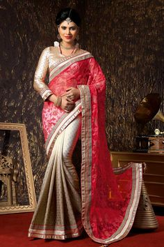 Andaaz Fashion new arrival Pink Grey Jacquard Net Saree with Art Silk Blouse and Designer Pallu with price $117.20. Embellished with Resham, Stone, Zari work. Sari comes with designer Quarter Sleeve and stylish Chinese Collar Blouse. This is prefect for Party, Wedding, Festival, Ceremonial.   http://www.andaazfashion.us/womens/sarees/occasion/bridal-wear-saree