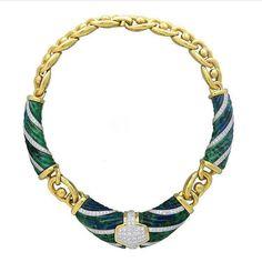 DAVID WEBB~ gold, platinum Azurite necklace ca. 1980.