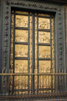 Gilded east doors of the baptistery in Florence, Italy.