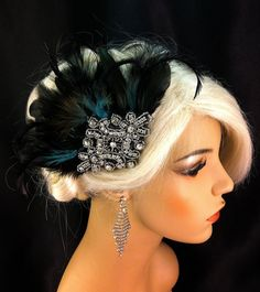 Bridal Fascinator, Black Feather Fascinator, 1920s flapper, Art Deco Headpiece, Bridesmaid, Hair Accessories