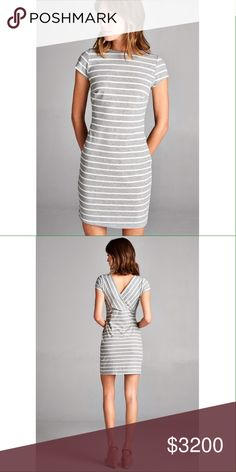 COMING SOON! $32 Striped ribbed minidress Heather grey. Short sleeves and V crossed back. High round neck. Dresses Mini