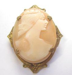 CARVED Ornate Frame Gold Filled Beautiful Shell Vintage Estate BROOCH Pin