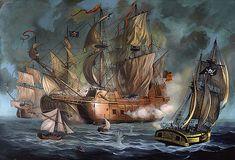 Two spanish ships attacked by pirates by Anton Atanasov Art Peter Pan Art, Pirate Art, Historical Art, Tall Ships, Canvas Prints, Art Prints, Sailing Ships, Nautical, Medieval