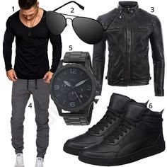 Cool men's style with black Amaci & Sons longsleeve, big aviator sunglasses, … - Men's Fashion Guide Puma High Tops, North Face Jacke, Grey Cargo Pants, Mode Man, Herren Style, Stylish Mens Fashion, Herren Outfit, Men Style Tips, Mens Clothing Styles