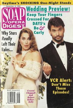 Crystal Chappell & Robert Kelker-Kelly (Carly & Bo #DAYS) 12/8/92 http://classicsodcovers.tumblr.com/