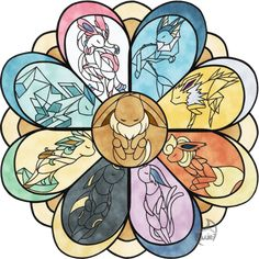Eeveelutions in Stained Glass - 2 by EvolifanNo1